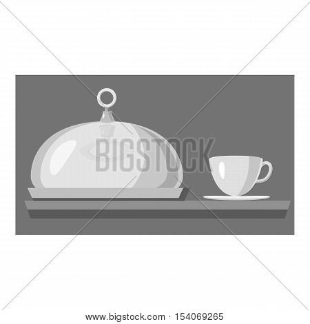 Cloche for meal and cup of hot drink icon. Gray monochrome illustration of cloche for meal and cup of hot drink vector icon for web