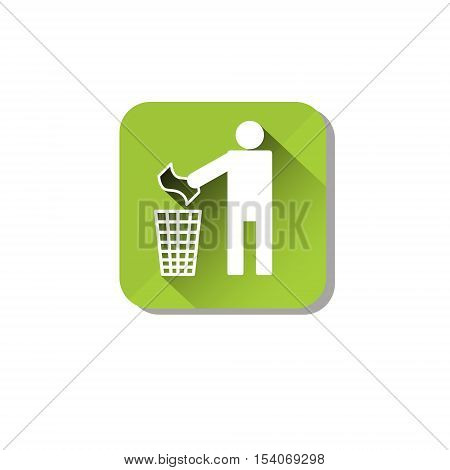 Person Throw Rubbish To Recycle Bin Web Icon Flat Vector Illustration
