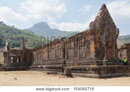 WAT PHU CHAMPASAK, LAOS - FEBRUARY 22, 2016: Temple Wat Phu Champasak, historical site and sights of Laos on February 22, 2016 in Laos, Asia