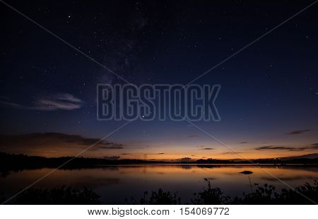 Night picture of a beautiful lake with milkyway and stars in the sky at twilight