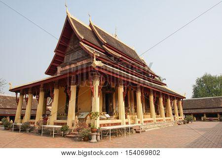 VIENTIANE, LAOS - FEBRUARY 20, 2016: Wat Si Saket, one of the sights in Vientiane on February 20, 2016 in Laos, Asia