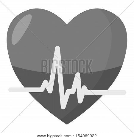 Heartbeat icon. Gray monochrome illustration of heartbeat vector icon for web