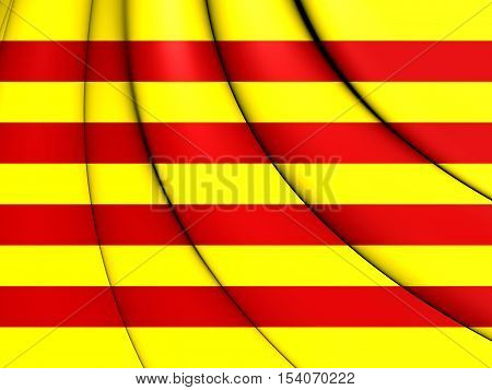 3D Flag of Catalonia. 3D Illustration. Close Up.