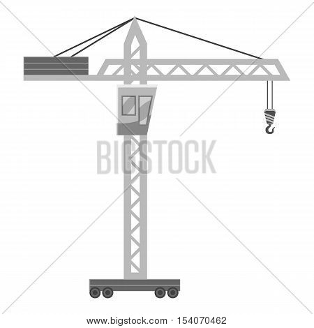 Hoisting crane icon. Gray monochrome illustration of hoisting crane vector icon for web