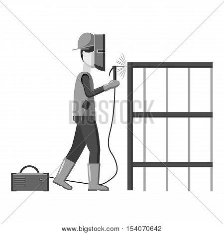 Industrial construction welder worker icon. Gray monochrome illustration of industrial construction welder worker vector icon for web