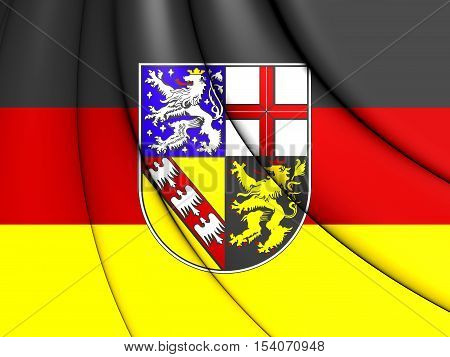 3D Flag Of Saarland, Germany. 3D Illustration.