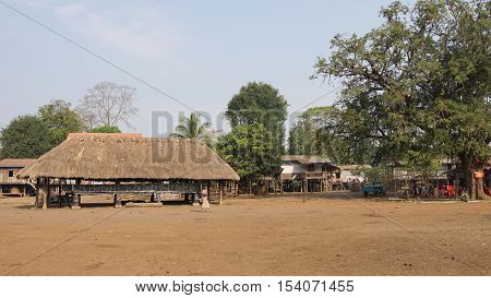 KATU VILLAGE, LAOS - FEBRUARY 23, 2016: Traditional village of Katu minority on February 23, 2016 in Laos, Asia