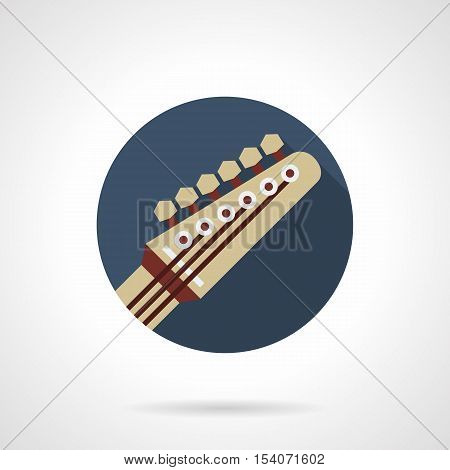 Symbol of guitar part - headstock. Modern music sign. Professional musical equipment, lessons, store. Round blue flat design vector icon.