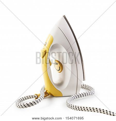 Yellow steam smoothing iron isolated on white background