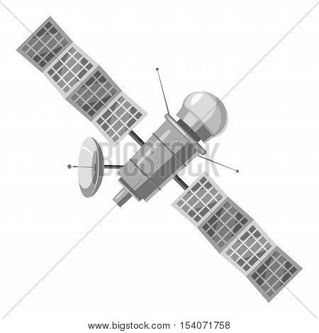 Space satellite icon. Gray monochrome illustration of space satellite vector icon for web