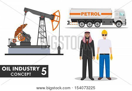 Detailed illustration of gasoline truck, oil pump, businessman, engineer and arab men in flat style on white background.