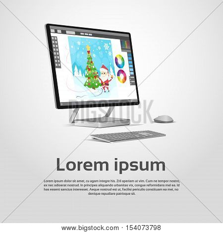 Desktop Modern Computer Graphic Designer Workplace Vector Illustration