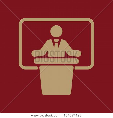 The speech icon. Speak and broadcaster, orator, presentation, conference symbol. Flat Vector illustration