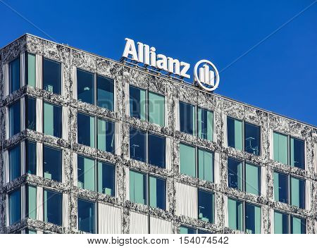 Wallisellen, Switzerland - 30 October, 2016: upper part of the Allianz Suisse headquarter building. Allianz Suisse is one of the major insurance companies in Switzerland with more than a million of private and more than 100 000 corporative customers.