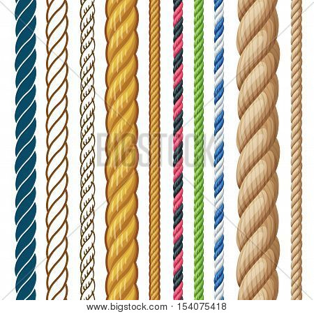 Ropes set. Cartoon vector illustration isolated on white background