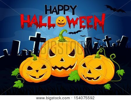 Vector illustration of Halloween background with pumpkin isolated on white background