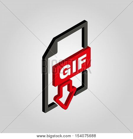 The GIF icon.3D isometric file format symbol. Flat Vector illustration