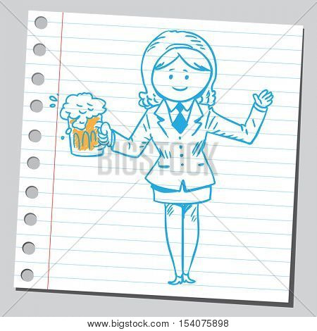 Businesswoman with beer mug