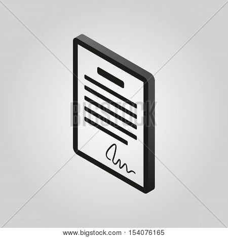 The contract icon. Agreement and signature, pact, accord, convention symbol.3D isometric. Flat Vector illustration