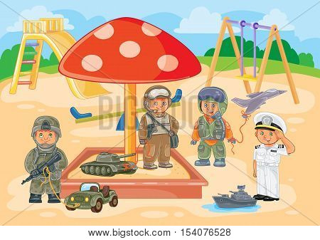 Vector illustration small children airman, soldier, sailor and tanker playing in the playground