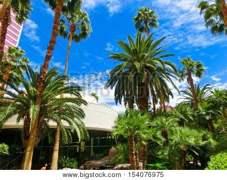 Las Vegas United States of America - May 05 2016: Flamingo Hotel and Casinoon the Strip in Las Vegas Nevada. Opened in 1946 the hotel has 3626 rooms and the casino 77000 square feet of gaming space.