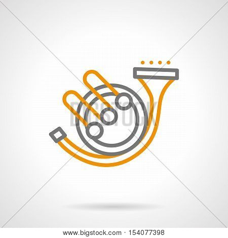 Hunting horn adapted for orchestra. Brass musical wind instrument. Alarm sounds symbol. Simple black and yellow line style vector icon.
