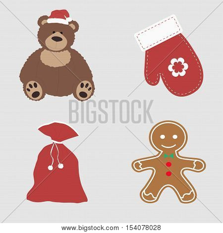 collection of Christmas colored icons. Set of beautiful items for the new year. Baby template for decoration or design. Vector illustration. bear toy mitten Santa's sack and a cookie