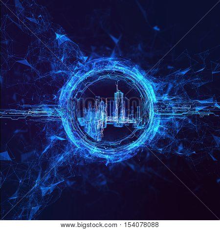 Rendering Energy stream Hologram on black background. Energy stream Hologram