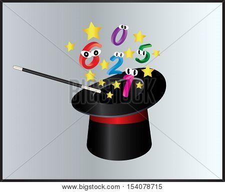 Number Magic Hat And Wand  Symbol Icon Design. Beautiful Illustration Isolated On Grey Background
