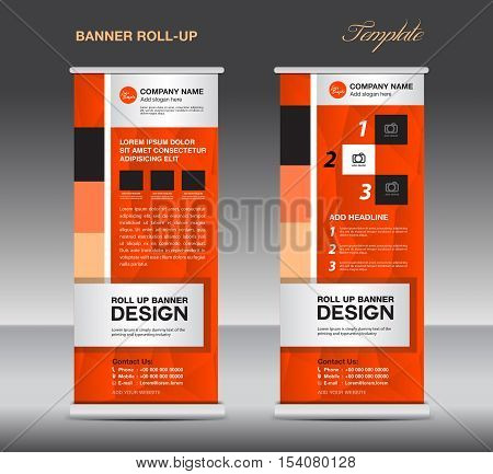 Orange Roll Up Banner template vector illustration, standy design, display, advertisement, pull up, banner template, polygon background