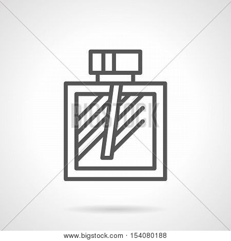 Cologne bottle with atomizer. Mens fragrances symbol. Perfumery and cosmetic products for man. Simple black line style vector icon.