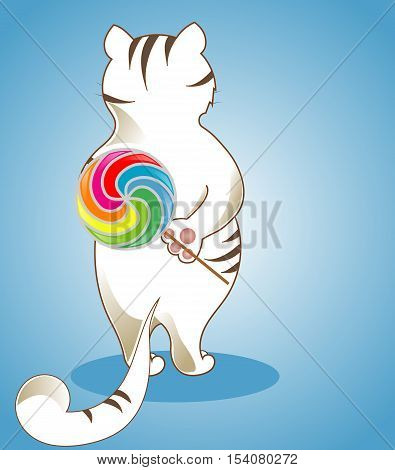 White Cute Cat with Brown Spots, Big Candy, Multicolor Lollipop, Lady-Cat, Long Tail, Vector illustration, Character, Blue Background, Full-Length