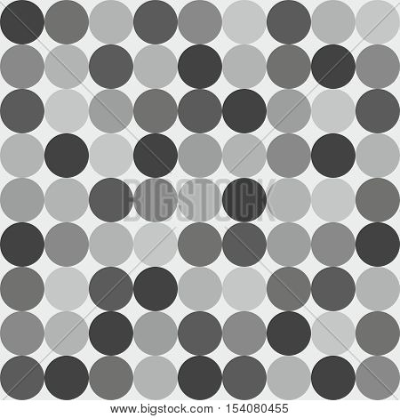 Tile vector pattern with grey, white and black polka dots on grey background