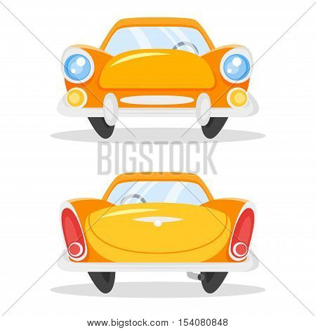 Vector cartoon style illustration of vintage old yellow car. Back and front view. Isolated on white background.