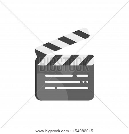 Vector flat style illustration of clapboard. Icon for web. Isolated on white background.