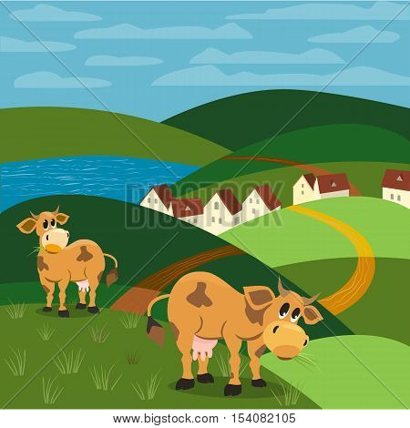 Milk cow. Mammals animals. Rural landscape background. Cows with udder, horns, hoofs. Village country houses on lake beach. Green hills, grass. Vector illustration