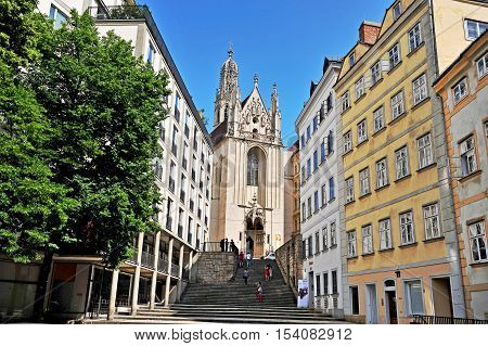 VIENNA AUSTRIA - JUNE 6: View of the street in historical centre of Vienna on June 6 2016. Vienna is a capital and largest city of Austria.