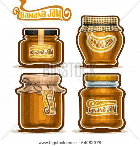 Vector logo Banana Jam in glass Jars with paper cover lid, rustic Pot home made banana jams, twine rope bow, homemade fruit jam jar, farm jelly pot with label, checkered cloth cap, isolated on white.