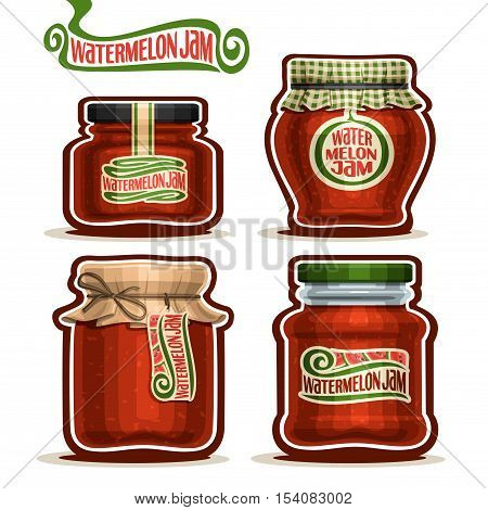 Vector logo Watermelon Jam in Jars with paper cover lid, rustic Pot home made watermelon jams, twine rope bow, homemade fruit jam jar, farm jelly pot with label, checkered cloth cap, isolated on white