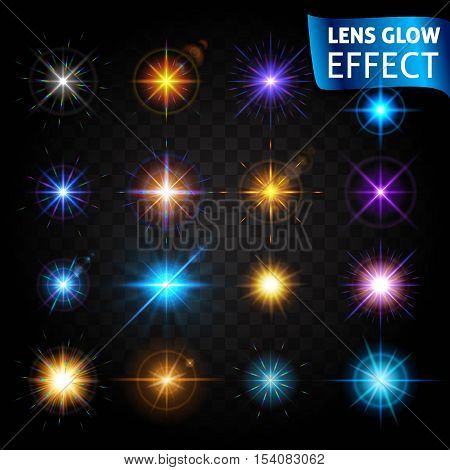 Lens glow effect. Big set of light effects on a dark background transparent. The effect of the lens the sun glow bright light. Set design for the Christmas and New Year