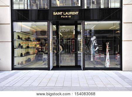 VIENNA AUSTRIA - JUNE 6: Saint Laurent flagship front store in Vienna on June 6 2016. Saint Laurent is a french couture house well known around the world.