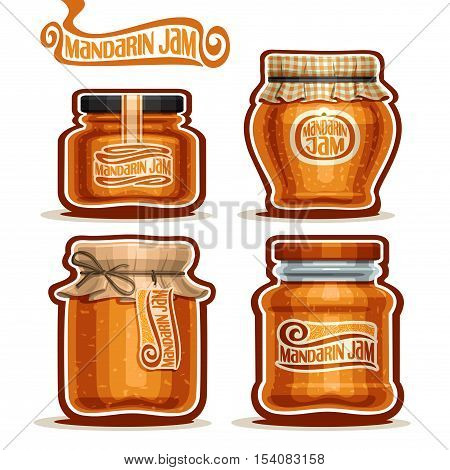 Vector logo Mandarin Jam in Jars with paper cover lid, rustic Pot home made mandarin jams, twine rope bow, set homemade fruit jam jar, farm jelly pot with label, checkered cloth cap, isolated on white