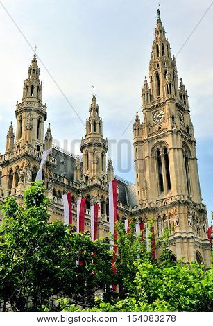 Towers of cityhall buildiing in Vienna, Austria