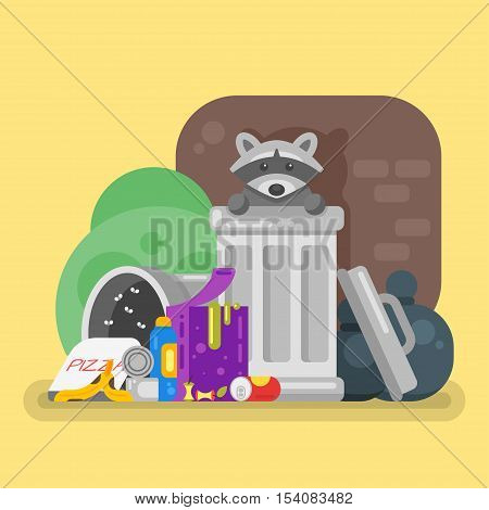 Vector flat style illustration of trash with raccoon. Spoiled food. Icon for web.