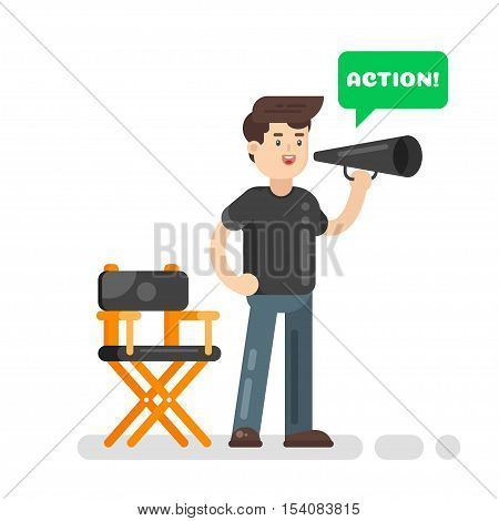 Vector flat style illustration of movie director. Speech bubble and the word