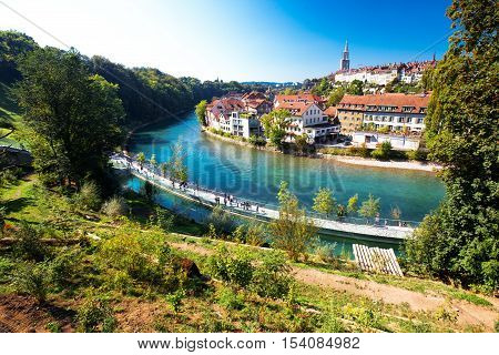 View Of Bern Old City Center With River Aare. Bern Is Capital Of Switzerland And Fourth Most Populou
