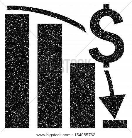 Financial Crisis Bar Chart Trend grainy textured icon for overlay watermark stamps. Flat symbol with scratched texture.