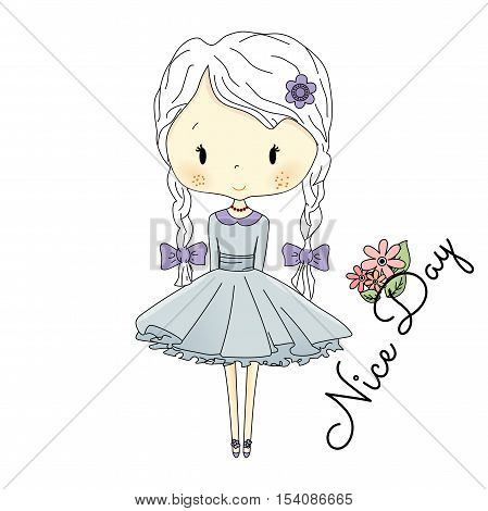 Little Girl Doll with Violet Bows. Vector fairy tail Doll Illustration on white background. Nice day text postcard