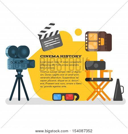 Vector flat style set of old cinema icon for online movies. Isolated on white background.