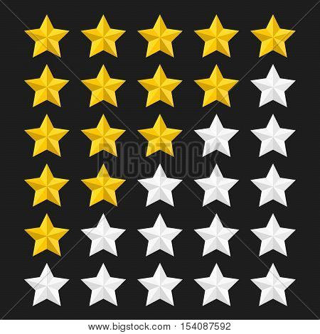 Star rating template with colored stars. Concepts of quality product or service. Stars rating isolated on black background. Vector illustration.